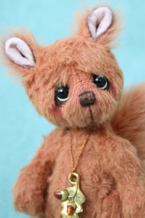 Miniature squirrel Artist teddy bear friend created by Jane Mogford of Pipkins Bears